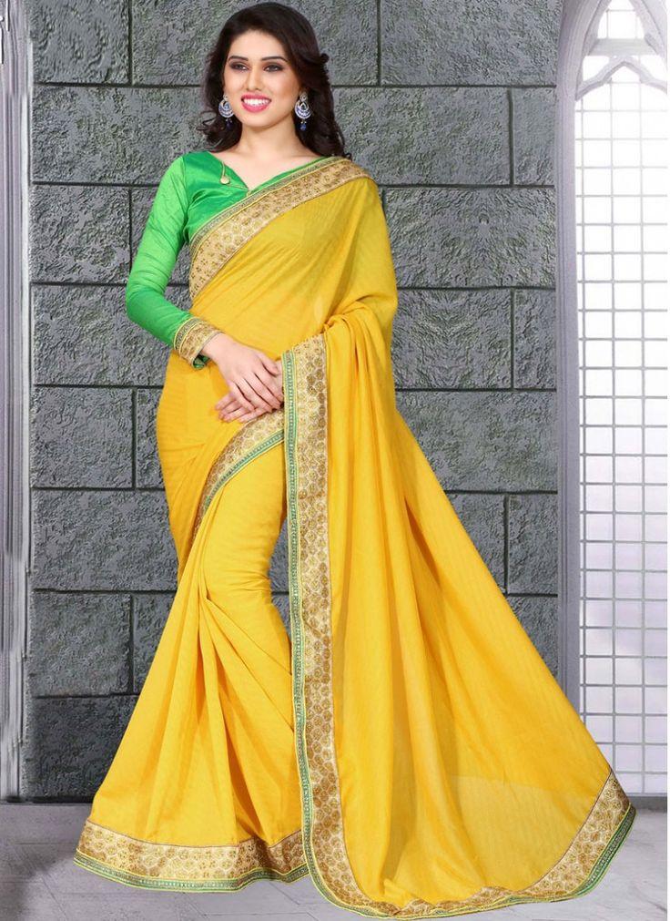 Vivid Yellow Designer Wedding Saree