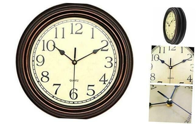 Foxtop 12 Inch Silent Non Ticking Round Classic Clock Retro Quartz Decorative Ba In 2020 Classic Clocks Clock Vintage Clock