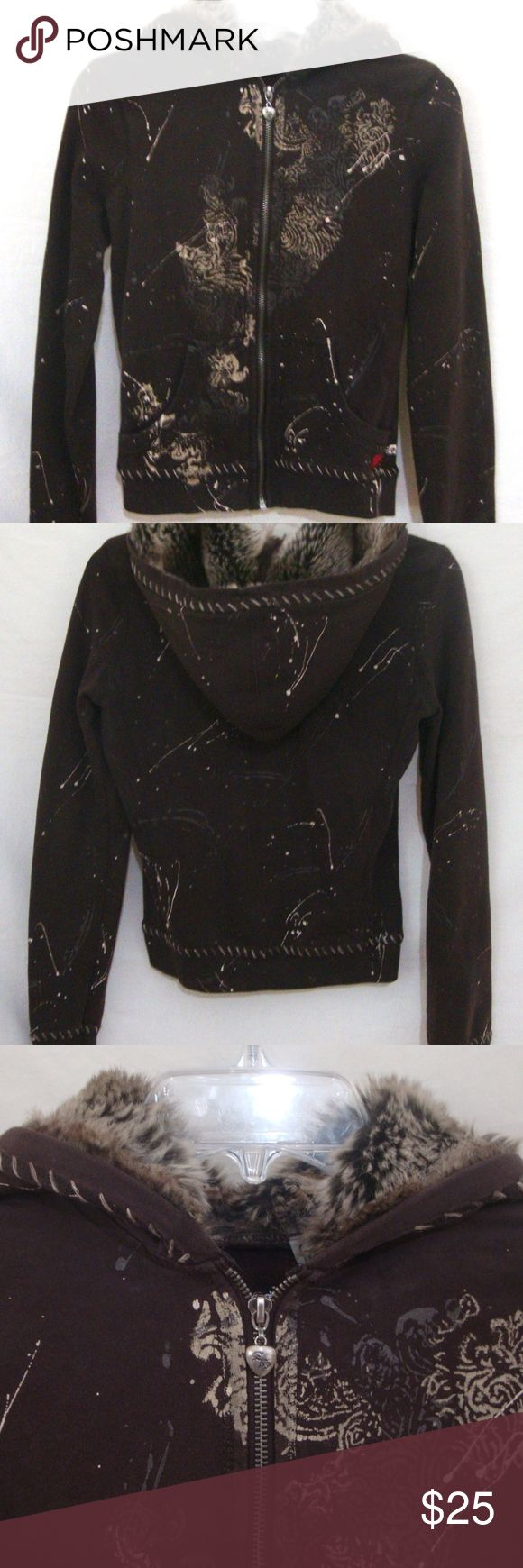 """Twisted Heart Fur Lined Hoodie Hand Painted Medium Twisted Heart Women's Fur Lined Hoodie, brown with gray & cream splatter paint design and silver heart charm zipper pull. Adorable zip front sweatshirt with long sleeves and front hand warmer pockets. Tag Size Medium. Measurements: chest 36"""", length 21"""". Good Overall Condition, no visible holes, or stains. Minor surface wear. Smoke Free Home.  Item # 34528-BIN4 TWISTED HEART Tops Sweatshirts & Hoodies"""