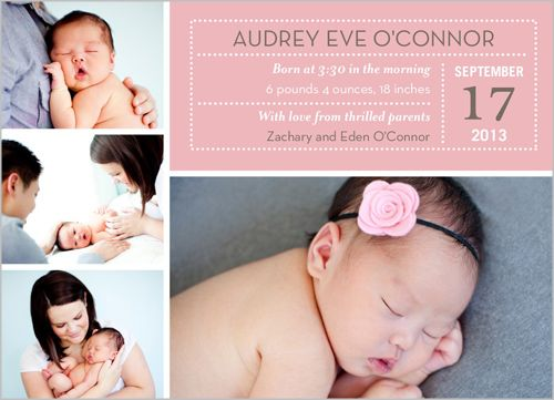 Calendar Date Girl Birth Announcement
