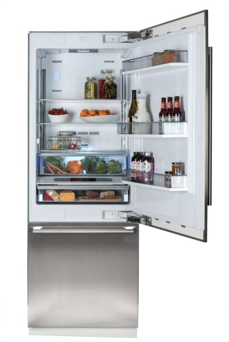 Blomberg BRFB1920SS 30 Inch Built-In Bottom Freezer Refrigerator with Ice Maker, Duo-Cycle Cooling, Blue Light Technology, IonFresh, Flush Hinge, Soft Close Crisper, Cantilever Shelves, 3D Door Adjustment, 16.4 cu. ft. Capacity, Sabbath Mode and ENERGY STAR®: Stainless Stee