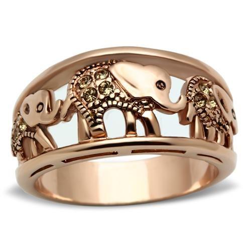 Rose Gold Elephant Parade Crystal Ring $30