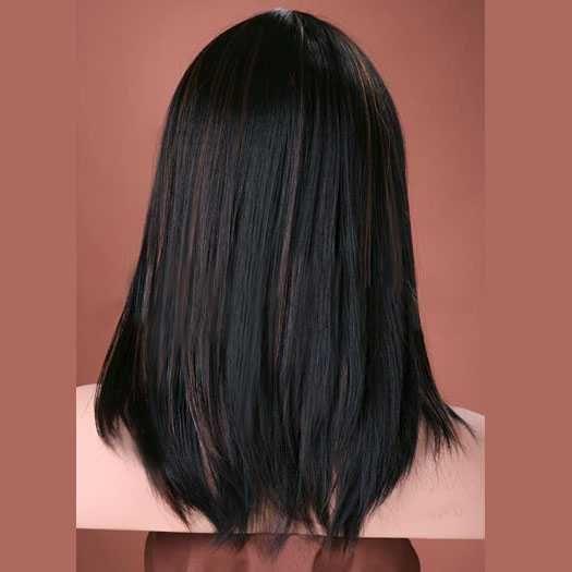 Luxe pruik halflang zwart haar met highlights model Missy