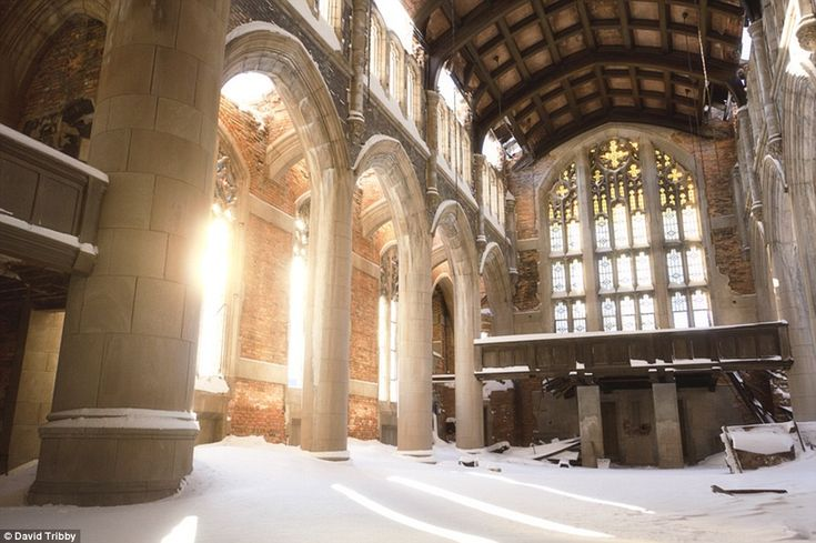 Covered in gleaming snow, City Methodist Church Gary, Indiana was built in the 1920s to hold a congregation of 950, complete with choir and one of the largest church organs in the state