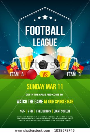 Football league tournament poster vector illustration, Ball with fresh lager beer in a beer mug on football pitch.