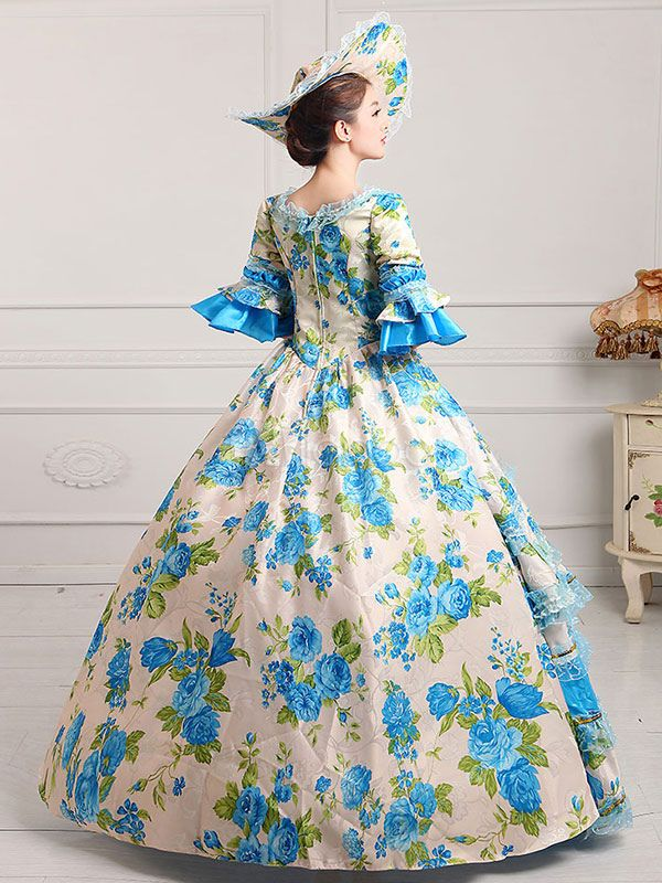 f6487fdfc20 Women s Vintage Costume Victorian Ball Gown Floral Print Dress With Hat  Halloween  Victorian