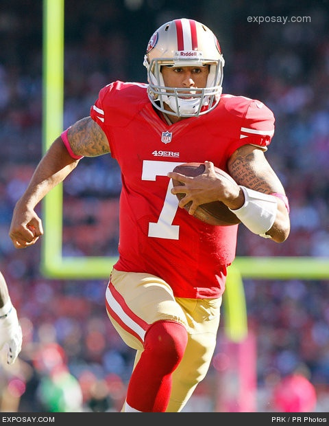 Kaepernick gets shit handled out on the feild.. not that you don't Alex but.. LOOK AT THOSE SEXY ARMS!