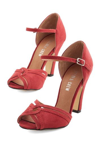 1940s style heels shoes- Step to the Rhythm Heel in Red