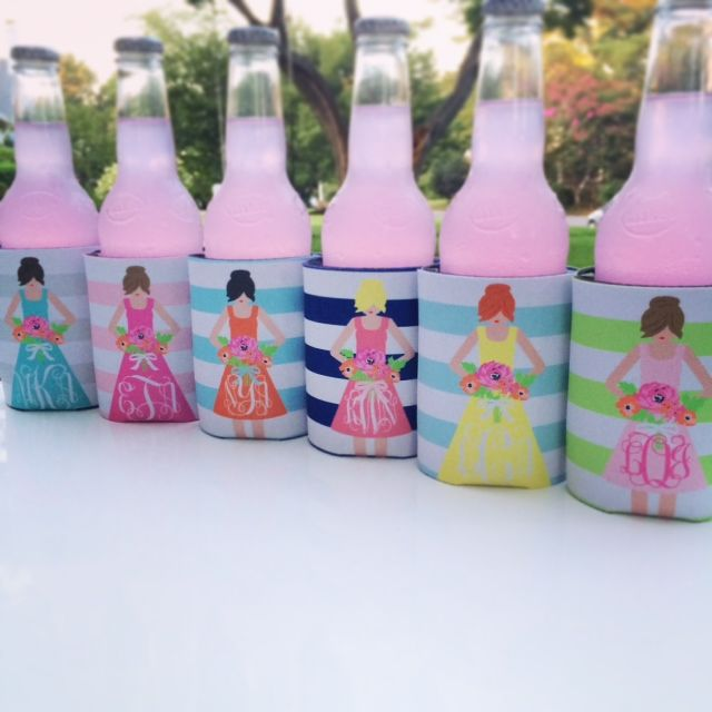 bridesmaid koozies - custom bridesmaid dress koozies