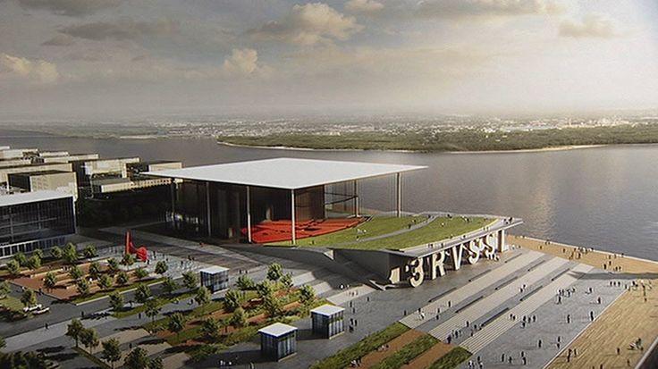 Le projet retenu au terme du concours d'architecture pour l'amphithéâtre de Trois-Rivières-sur-Saint-Laurent