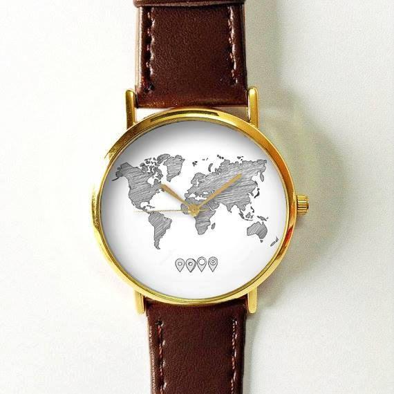 Esquissée monde carte montre, Vintage Style cuir montre, montres femmes, copain Watch, montre homme, Silver Rose Or, voyage, noir et blanc