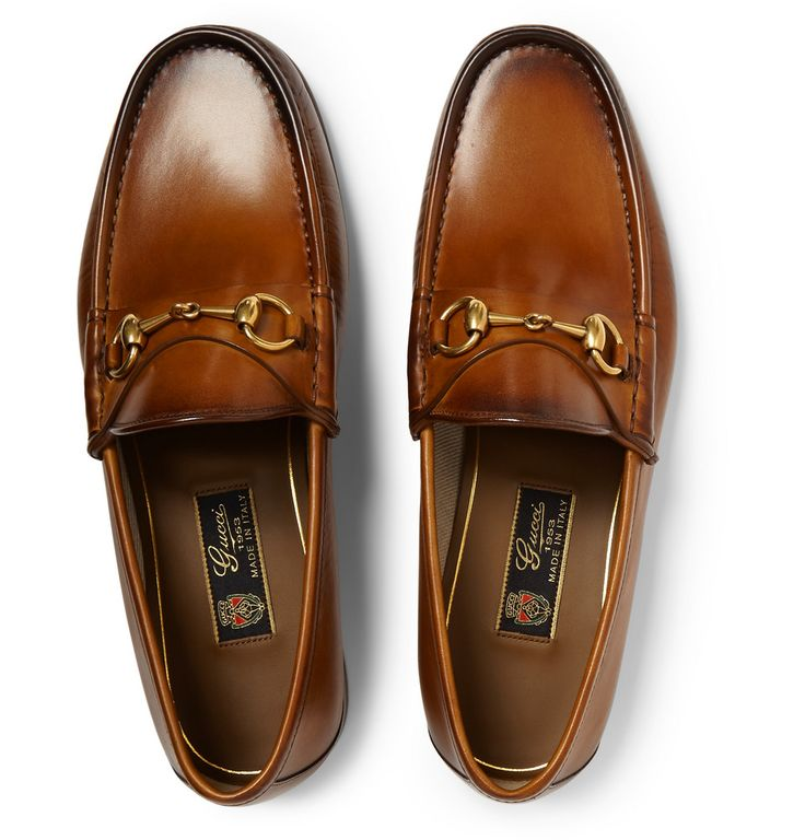 GUCCI BURNISHED-LEATHER HORSEBIT LOAFERS