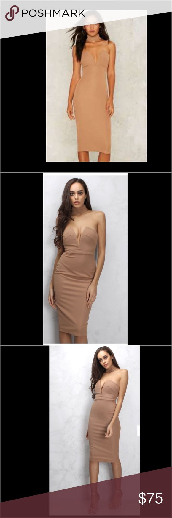BRAND NEW!!! Camel High Neck Plunge Front Dress Camel high neck bodycon midi dress. Featuring a plunge front bodice and a choker neck design this bodycon is a chic alternatively to the LBD. Team with metallic heels and statement clutch bag to complete the look. Rare London Dresses Midi