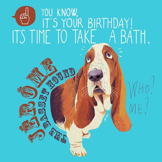 Funny Custom Portrait of dog. Whimsical Basset Hound. Illustration by CipAtTheMirror