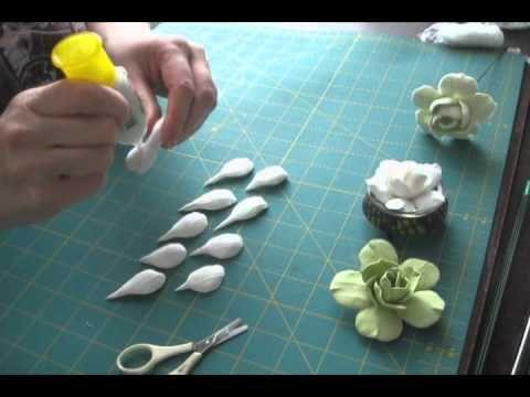 ▶Cold porcelain of gumpaste camelia tutorial  Цветы из само застывающей полимерной глины. - YouTube