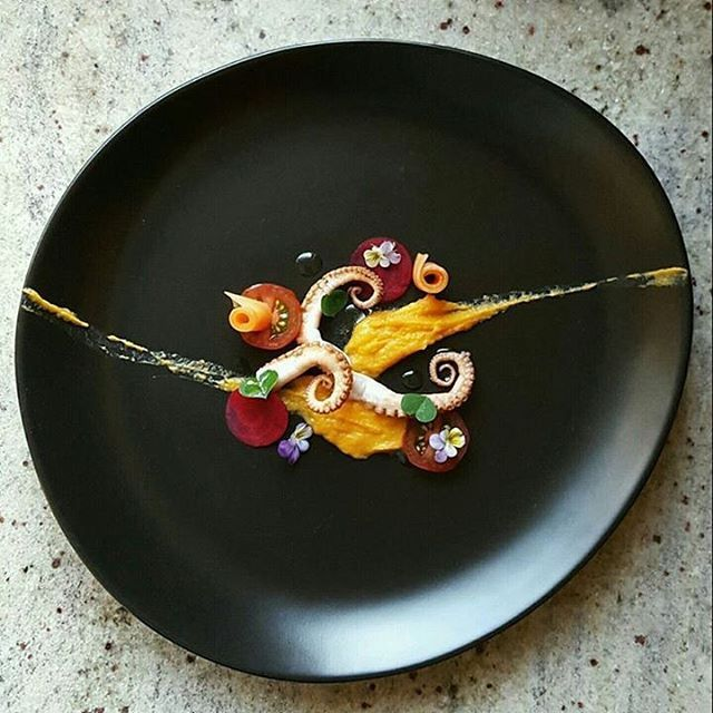 Octopus, sweet potato purée, heirloom tomato, beetroot, carrot by @lvin1stbite…
