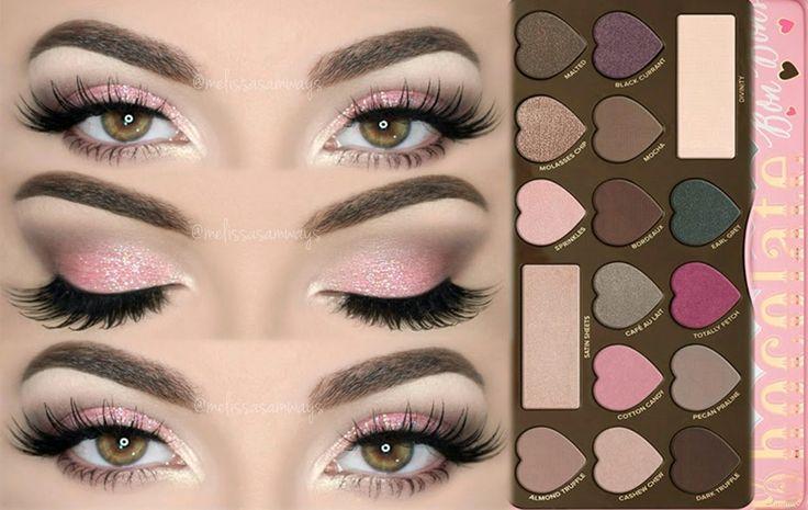 ♡ Sugar Pink Glitter Makeup Tutorial - Chocolate Bon Bons Palette | Meli...