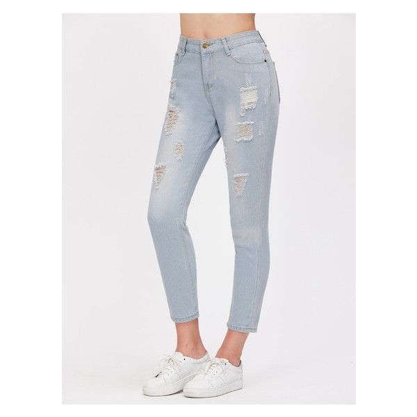 Light Blue Stone Wash Ripped Skinny Jeans (28 BAM) ❤ liked on Polyvore featuring jeans, destructed jeans, destroyed jeans, light blue ripped jeans, distressing jeans and destroyed skinny jeans