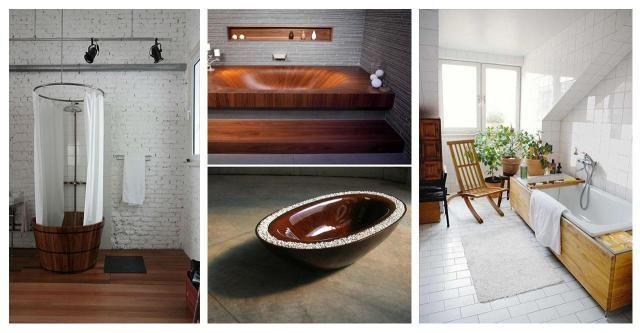 Zjawiskowe drewniane wanny do łazienki - 12 inspiracji #DREWNIANA WANNA W ŁAZIENCE #DREWNO #WANNA #ŁAZIENKA