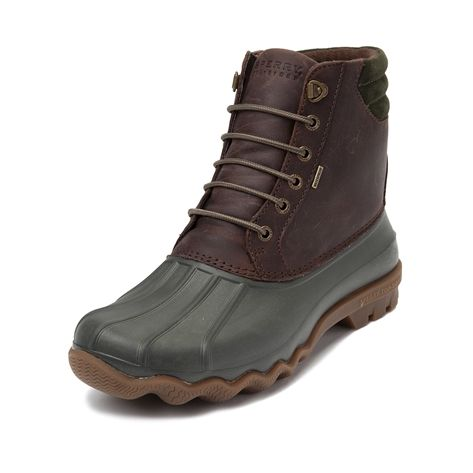 Mother Nature has met its match. Here to help you brave the elements in style, it's the Sperry Top-Sider Duck Boot for men. This durable Sperry duck boot features a stain- and water- resistant leather upper, waterproof duck toe, thermal lining, and rigid rubber lug outsole for traction to keep you dry, warm, and grounded all season long. Only available at select stores and online at Journeys.com! Available for shipment in November; Pre-order yours today!    Features include   Stain- an...