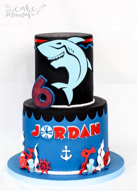 Shark birthday cake! #sharks #birthdaycake #birthday #sharkbirthdaycake #nautical #nauticaltheme #sharktheme #boybirthday #boybirthdaycakes #birthdayparty #6thbirthday #anchors #waves #ocean