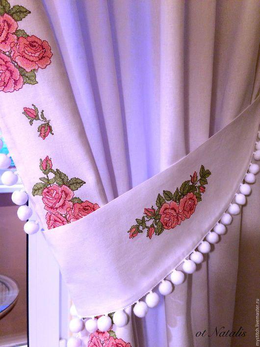 Текстиль, ковры ручной работы. Заказать Льняные шторы с вышивкой