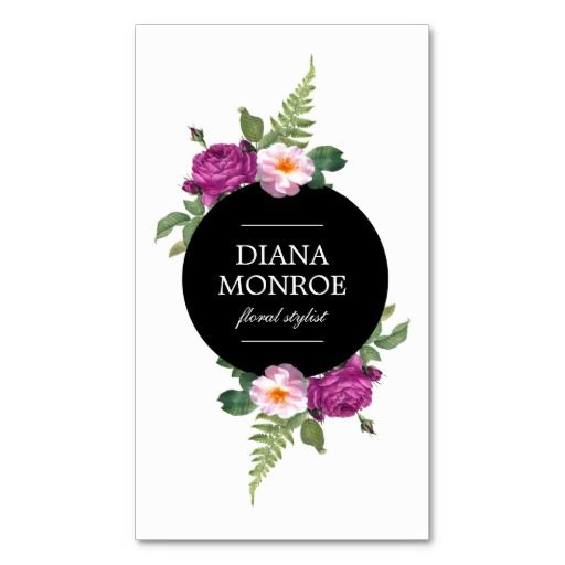 Modern Circle Floral Wreath White Business Card