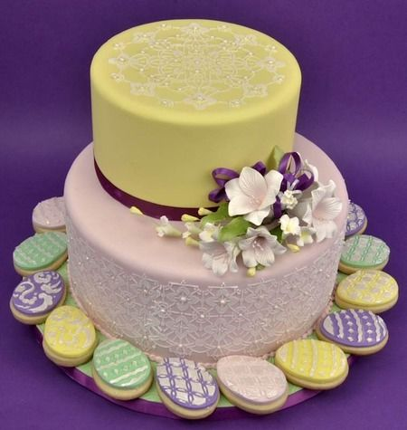 Easter cake: Cookies, Easter Cakes, Lace Flowers, Cakes Ideas, Holidays Cakes, Cakes Decor, Sugar Art, Cakes Wreck, Easter Treats