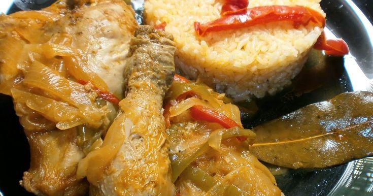 .esta receta es facil de hacer y rica os la recomiendo. INGREDIENTES : 1 pollo troceado / 300 gr de arroz de grano largo / 2 cebol...