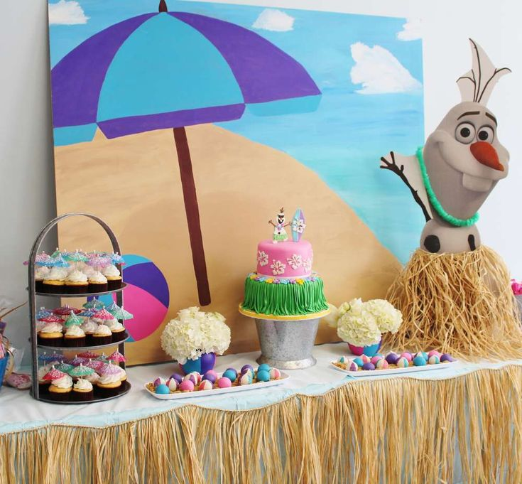 Olaf's summertime Frozen birthday party! See more party planning ideas at CatchMyParty.com!