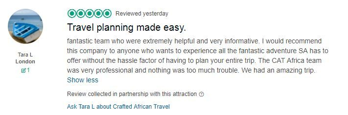 Travel planning is not easy, so we're always proud to receive positive feedback. Please check out our reviews on TripAdvisor: