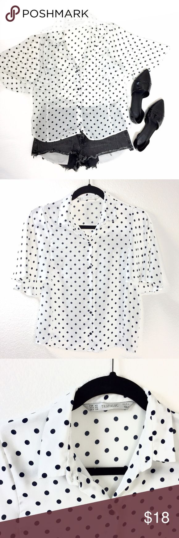 "ZARA Polka Dot Batwing Top NO TRADES. NO PAYPAL. NO EXCEPTIONS.   ZARA flowy navy and white sheer polka dot batwing top. Size XS. In excellent condition. Approx 18"" across chest and 22"" in length. Other items in photo are also listed in my PM closet.  Please be considerate when making an offer. Poshmark takes 20% on each sale, and I price the items in my closet pretty fairly especially the condition that they're in. Bundle for additional discount and to save on shipping. Zara Tops Blouses"