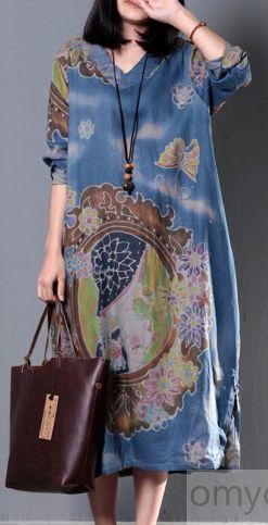 V NECK BLUE FLORAL SUMMER MAXI DRESS OVERSIZE CAFTAN SUNDRESS LONG COTTON CLOTHING