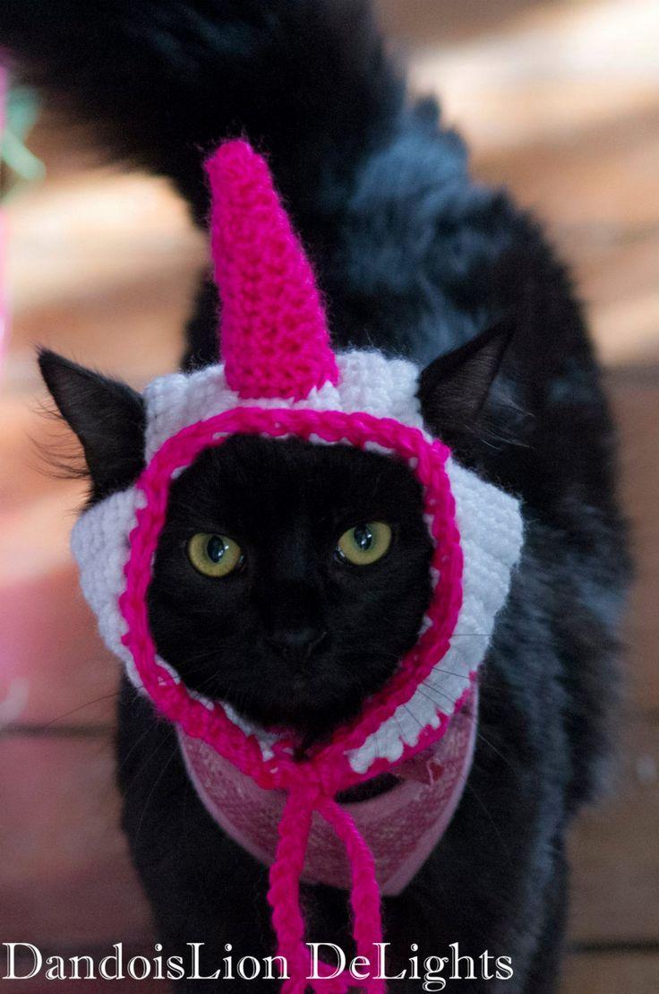Custom Crochet Unicorn Hat for your Pet -- Custom Order -- Cat, Small Dog, Kitten Costume by DandoisLionDeLights on Etsy https://www.etsy.com/listing/233122073/custom-crochet-unicorn-hat-for-your-pet