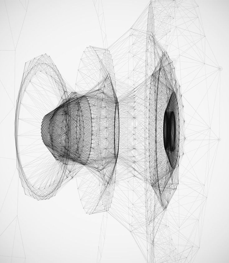 """archatlas: """" Audio and Beat Reaction No. 2 Diana Lange """"Made with Processing. Another experiment with audio data. Deformations and rotation are based on beat detection and FFT data from the sound..."""