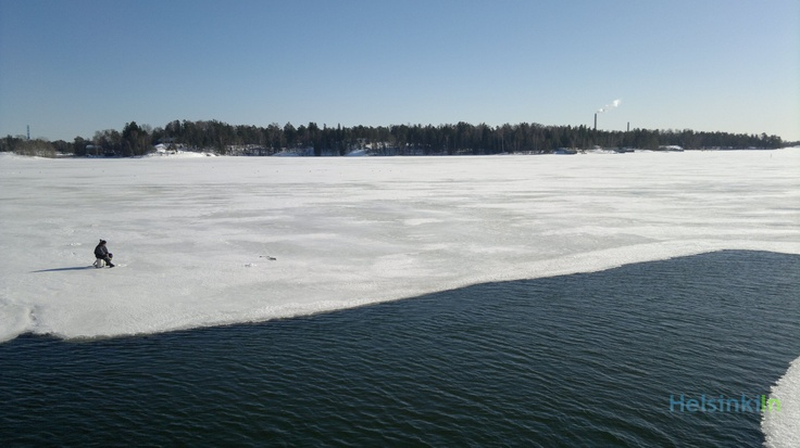 Ice fishing at the edge