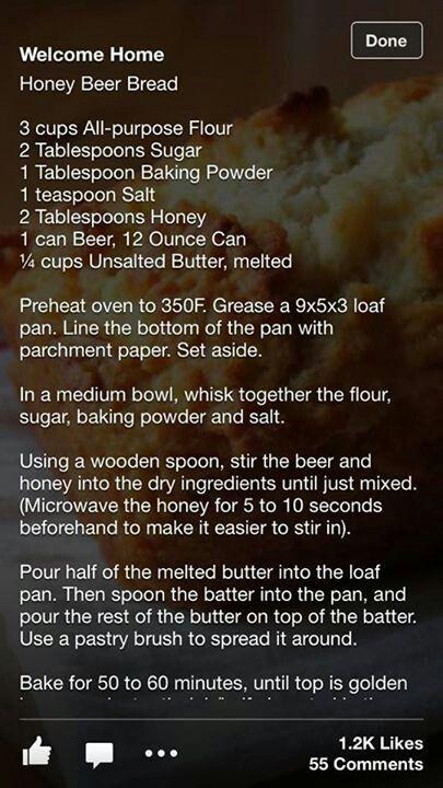 Homemade honey beer bread