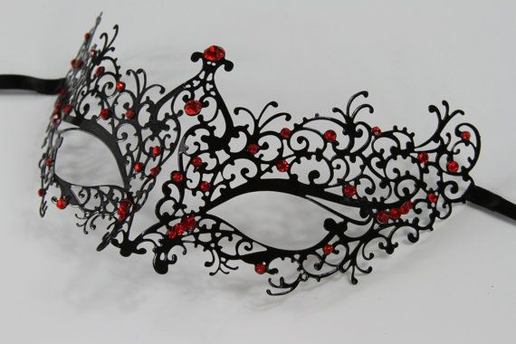 Black Masquerade Mask/ Laser cut with red rhinestones  Venetian Masquerade Mask Phantom of the Opera Inspired Unisex, Mardi Gras, Wedding