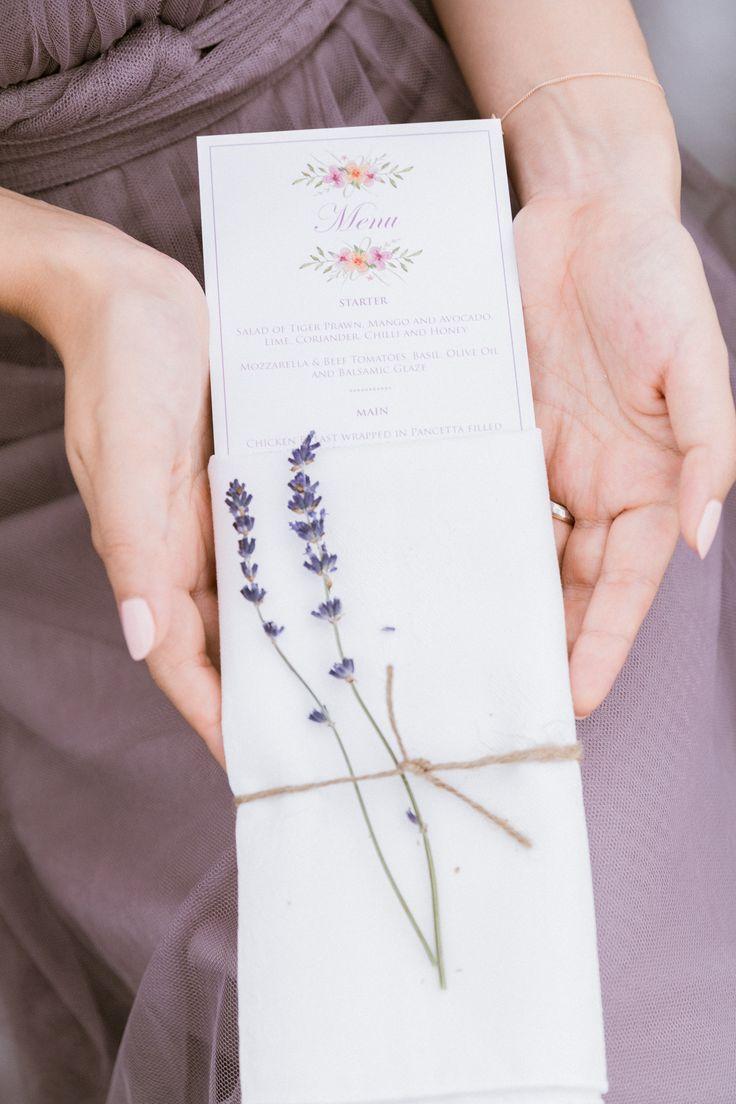 A watercolour flower motif menu created by #novaweddingplanning