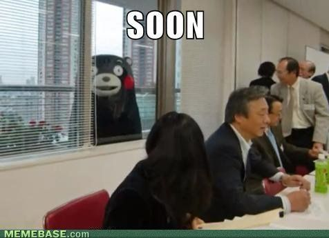 Kumamon being creepy. Imagine him looking at you from your school classroom window... Cute yet creepy, but cute
