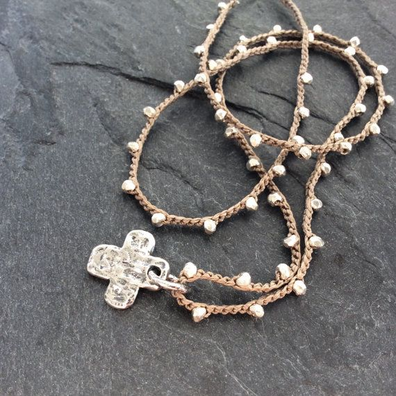 Sterling cross crochet necklace - 'Have faith' religious boho jewelry, artisan bohemian chic by mollymoojewels