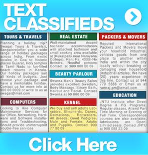 Book text classified ads in all leading Indian newspapers with the help of adfromhomes.com. Text classifieds are very affordable in cost.  For more info visit at : http://www.adfromhomes.com/text-classified.html