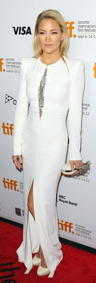 Kate Hudson, long sleeve white gown with sequin detail and slit.