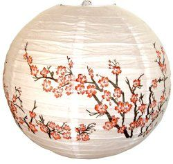 "Red Peach Blossom Flowers White Color Chinese/Japanese Paper Lantern/Lamp 16"" Diameter - Just Artifacts Brand / Paper Lanterns with Lights"