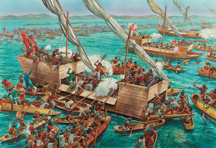 Tenochtitlan 1519–21 is the incredible story of the collapse of the Aztec Empire at the hands of Spain. This piece of artwork here brings the engagement that brought down the empire to life. The scene here depicts Spanish brigantines engaging Mexica canoes at Lake Texcoco on 1st June 1521.