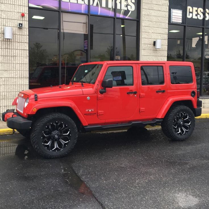 """Red jeep on 20"""" fuel off road assault wheels with matching #fueltires #fuelwheels #houseofdubs #jeeplife #offroad #jeepswag thehouseofdubs.net"""