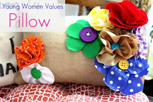 Young Women Values Pillow - Each flower is a value color!  So fun to make!