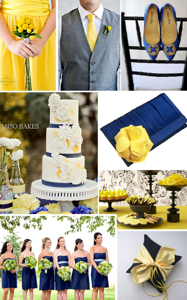 Best example of navy, yellow, and white that I could find!  Love, love, love it!  Especially like the groomsmen, with grey suits, yellow ties and white shirts.  Awesome!
