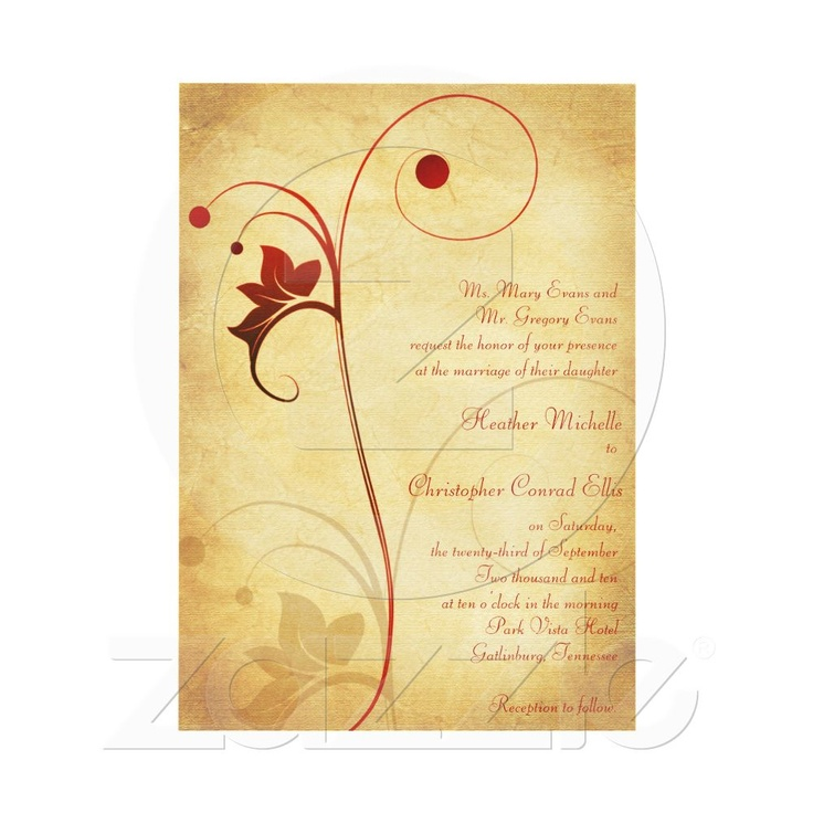 Autumn wedding invitation featuring a vine and berries. Easy to customize the text. #weddings #invitations #fall #autumn