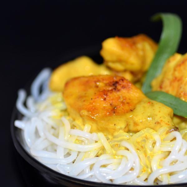 Spaghetti de Konjac accompagnés de dinde au curry | Konjac